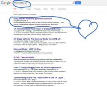"lucky attitude ranks first for ""millennial blog uk"" keyword <3"